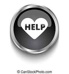 White Aed symbol on black glossy web button
