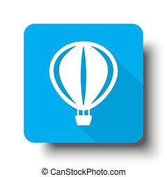 White Air Balloon icon on blue web button