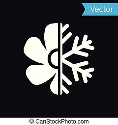 White Air conditioner icon isolated on black background. Vector Illustration