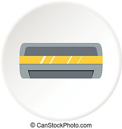White air conditioner machine icon circle