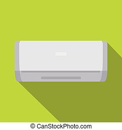 White air conditioner machine icon, flat style - White air...