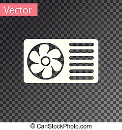 White Air conditioner with fresh air icon isolated on transparent background. Split system air conditioning sign. Cool and cold climate control system. Vector Illustration