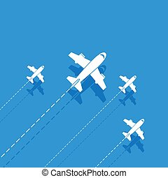 White aircraft on a blue background
