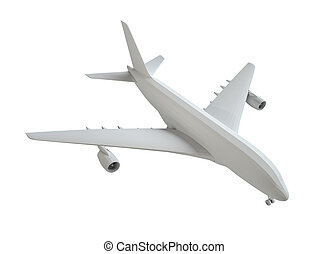 White airplane. Isolated