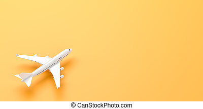 White airplane isolated on yellow background. 3D illustration.