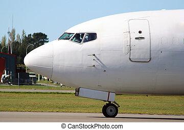 White airplane nose
