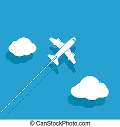 White airplane on a blue background