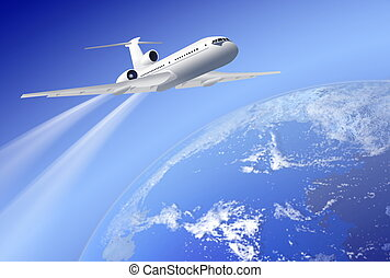 airplane over earth on blue background