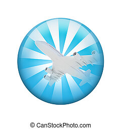 White airplane. Spherical glossy button