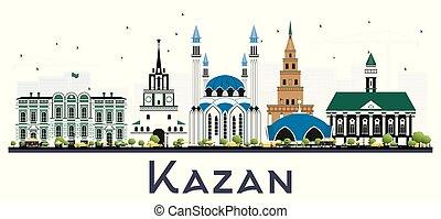 white., aislado, kazan, edificios, contorno, rusia, color de...