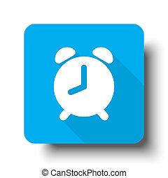 White Alarm Clock icon on blue web button