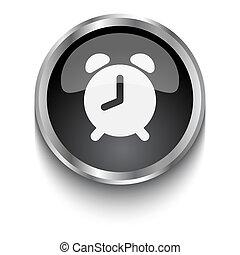 White Alarm Clock symbol on black web button