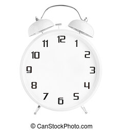 White alarm clock with no hands isolated on white