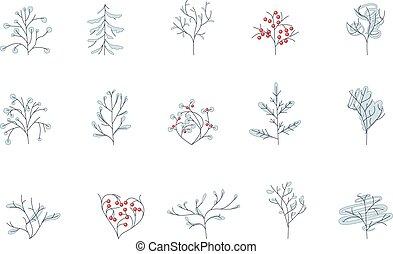 white., albero, contorno, isolato, set, inverno, differente