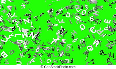 White Alphabets On Green Chroma Key. Loop able 3DCG render...