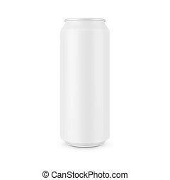 White aluminum can template for beer, soda, tonic or other beverage. 0,5 l. Packaging collection. Vector illustration