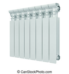 White aluminum heating radiator. Isolated on white ...