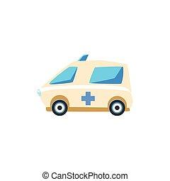 White Ambulance Toy Cute Car Icon