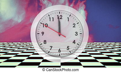 White analogue clock showing 12 over colourful blur with moving checkerboard squares below. vintage colour, time and movement concept digitally generated image.