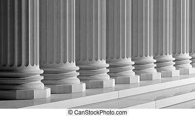 White ancient marble pillars in a row