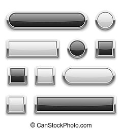 White and black 3d technology buttons with shiny silver chrome metal frame. vector set