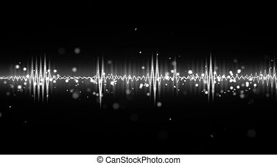 white and black audio waveform seamless loop