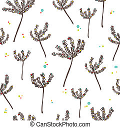 White and black background with abstract plants, seamless pattern