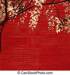 white and black blossom on red wooden slatted background with text space
