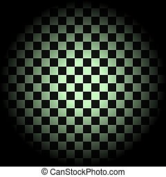 White and black checkered background in circle