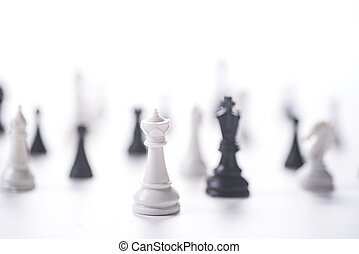 white and black chess on white background
