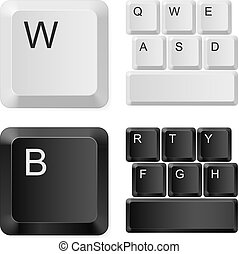 White and black computer keys. Illustration on white...