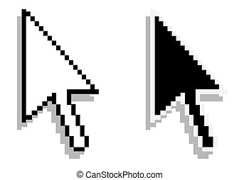 white and black cursors. Vector.