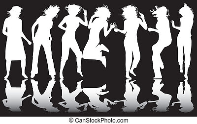 White and black, dancing girl