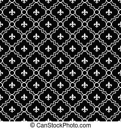 White and Black Fleur-De-Lis Pattern Textured Fabric...