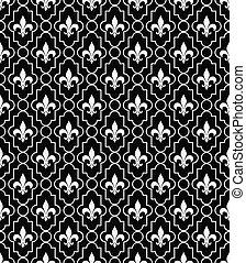 White and Black Fleur-De-Lis Pattern Textured Fabric Background