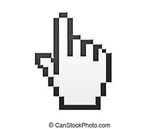 white and black hand cursor over white background. illustration