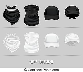 White and black head bandanas and cap, neck scarf and buff....