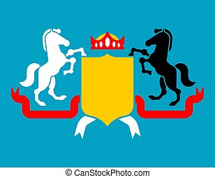 White and black horse and Shield heraldic symbol. Royal Horse for coat of arms. Vector illustration