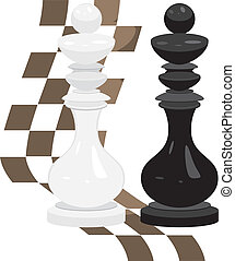 White and black king. Chess pieces. Vector illustration