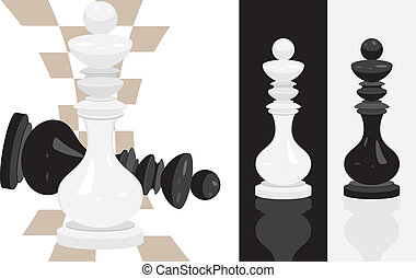 White and black king chess. Vector illustration