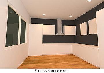 white and black kitchen room