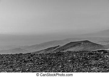 White and black magic morning colorful landscape of sunrise over negev judean desert in Israel.