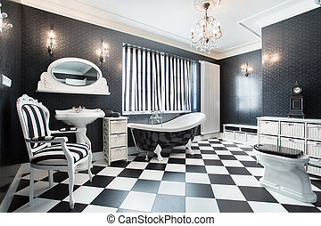 White and black modern bathroom - Interior of white and...