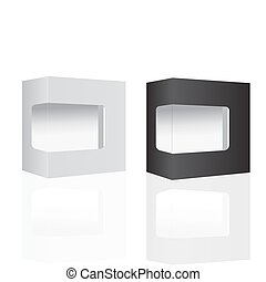White and Black Modern Software Package Box For DVD, CD Disk Or Other Your Product. Vector Illustration