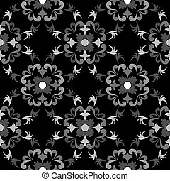 white and black seamless floral pattern