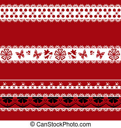 White and black seamless lace pattern on red