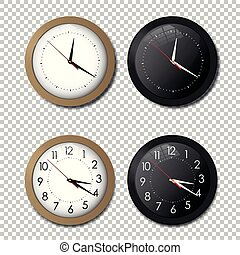 White and black wall office clock icon set. showing five minutes to twelve. For new year concept.