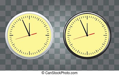 White and black wall office clock icon set showing five minutes to twelve. Vector illustration.