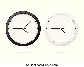 White and black wall office clock .