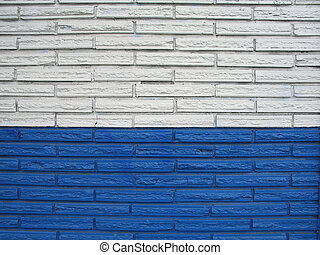 white and blue brick building